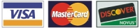 We accept VISA, MASTERCARD and DISCOVER credit cards.
